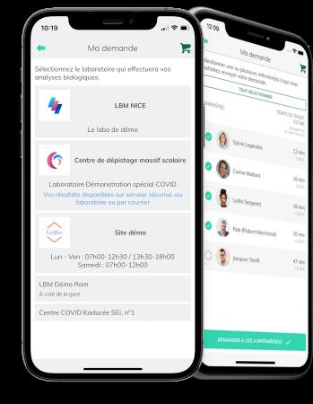 Application Kaducée - Choisissez votre laboratoire et recevez vos résultats directement sur votre smartphone